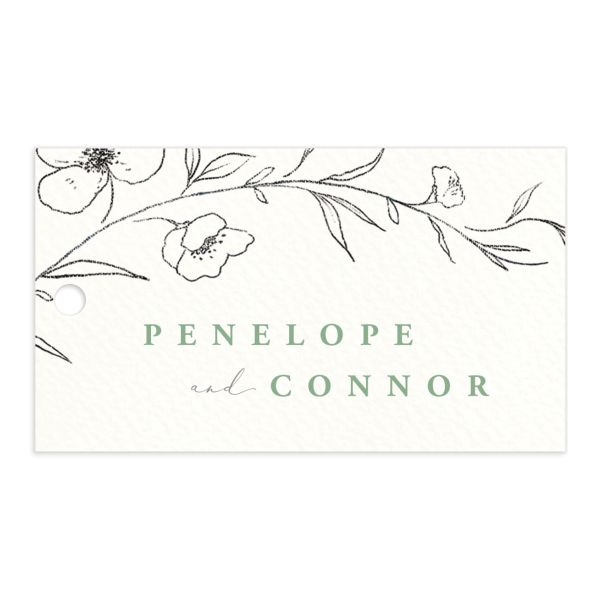 graceful botanical wedding favor gift tags in green