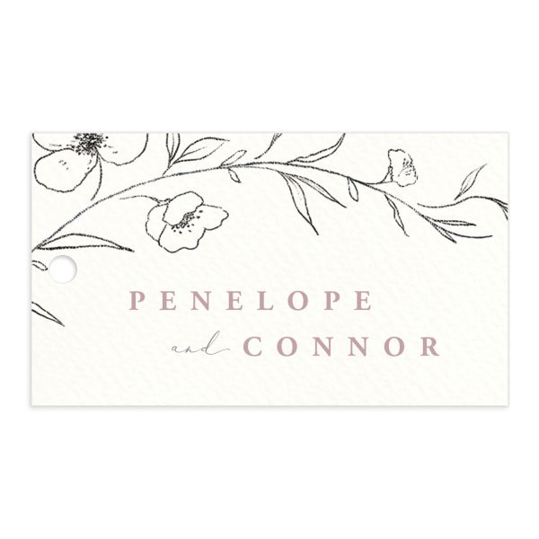 graceful botanical wedding favor gift tags in pink