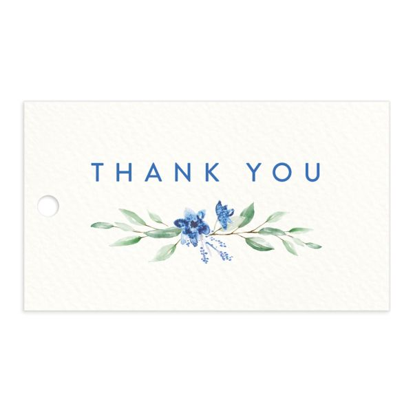 watercolor crest wedding favor gift tags in blue