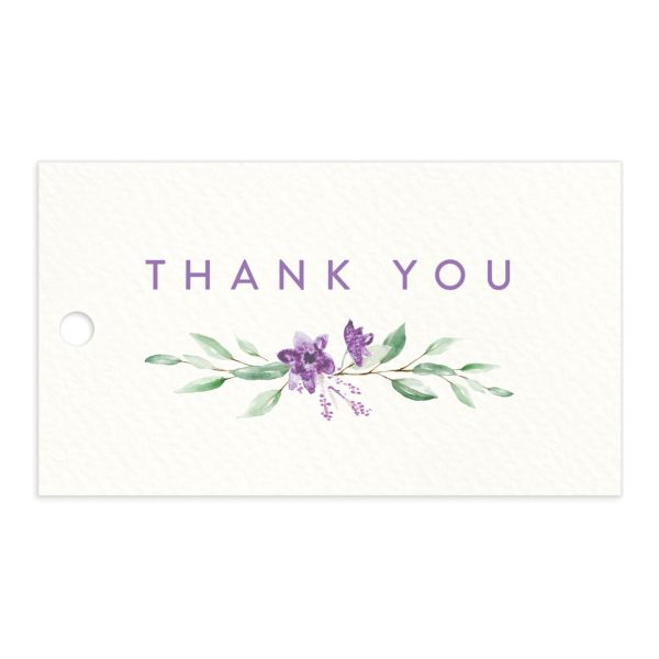 watercolor crest wedding favor gift tags in purple