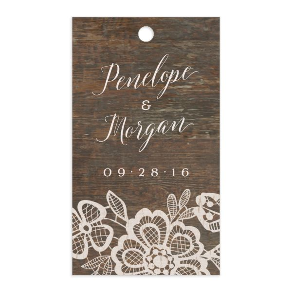 Woodgrain Lace gift tag front
