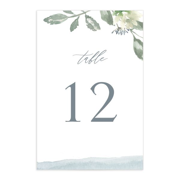 Dusted Calligraphy table number blue front