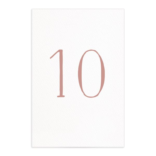 Natural Monogram table numbers front in pink