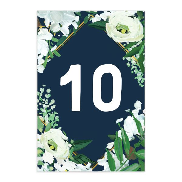 Painted Greenery table number front in navy