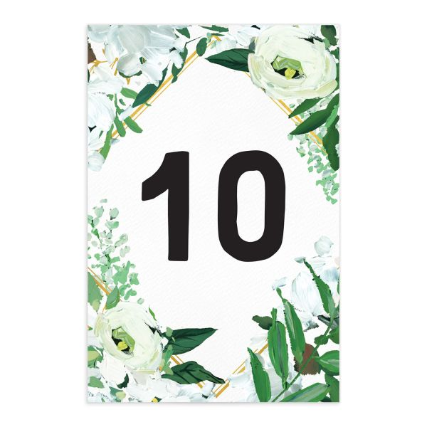 Painted Greenery table number front in white