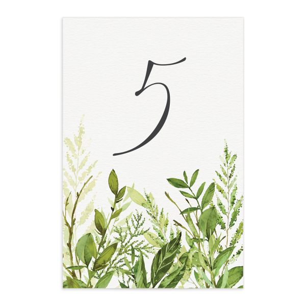 Watercolor Greenery table number cards