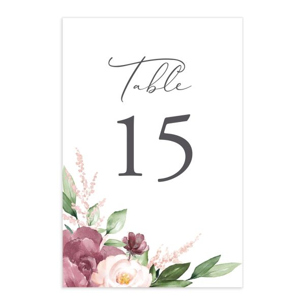 Beloved Floral Wedding table numbers in purple