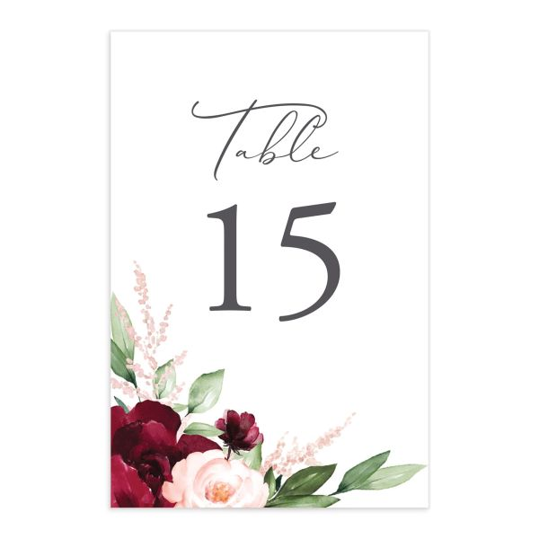 Beloved Floral Wedding Table Numbers in Red
