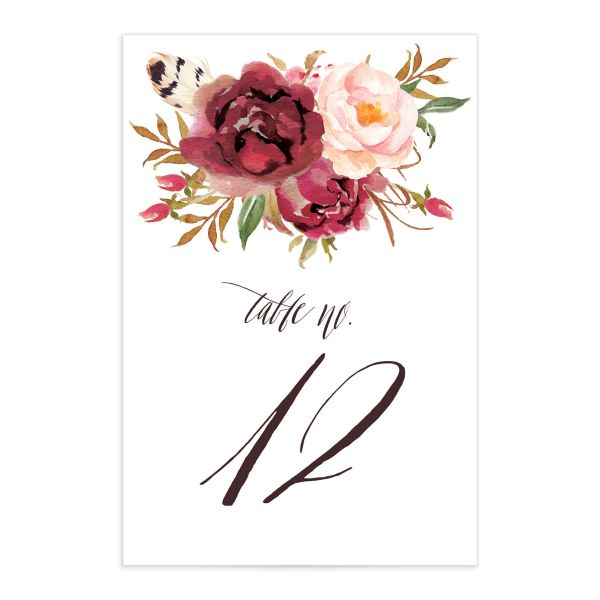 bohemian floral wedding table numbers in burgundy