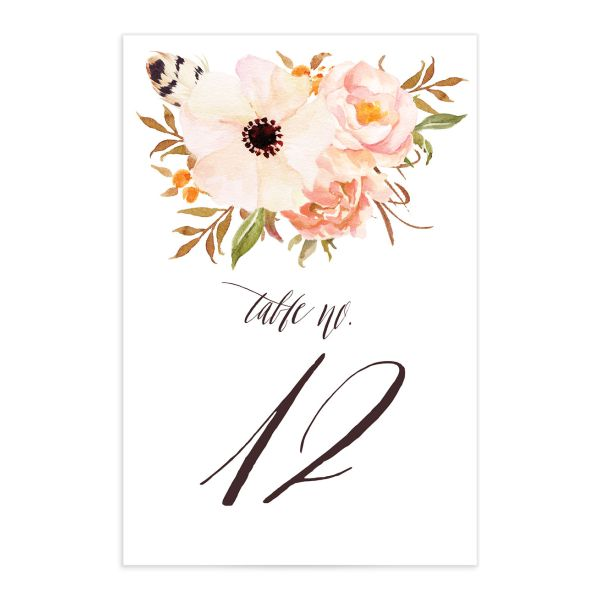 bohemian floral wedding table numbers in peach