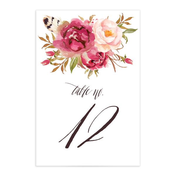 bohemian floral wedding table numbers in pink