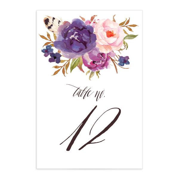bohemian floral wedding table numbers in purple