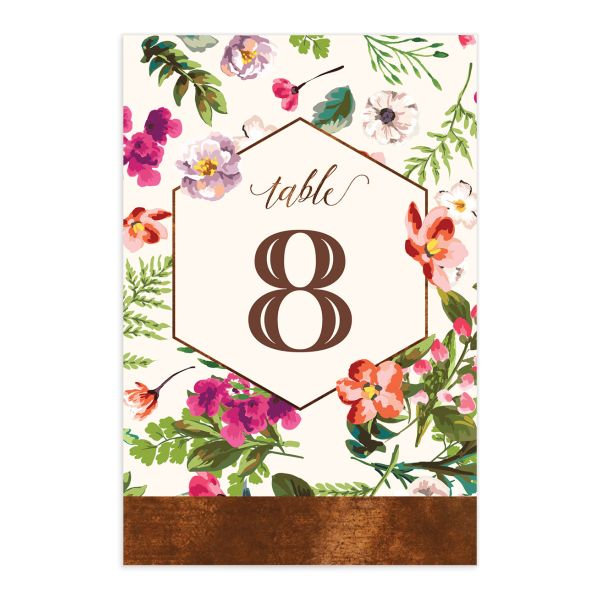 Bronze Floral Frame Table Number front
