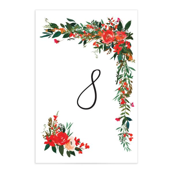 Cascading Altar wedding table numbers in bright red