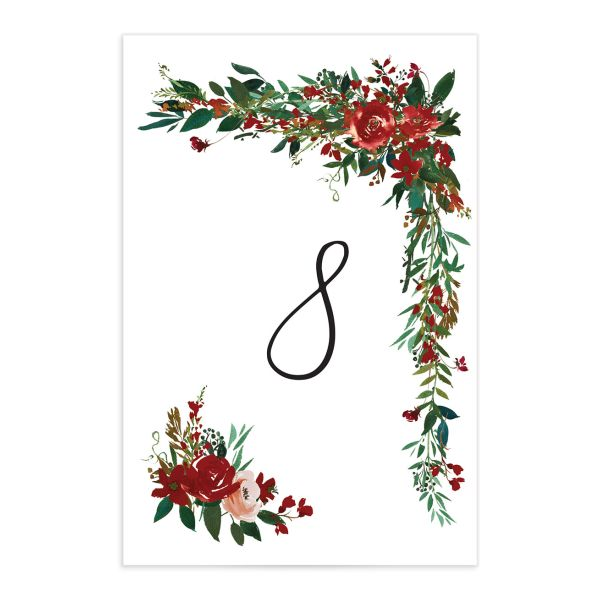 Cascading Altar wedding table numbers in burgundy back