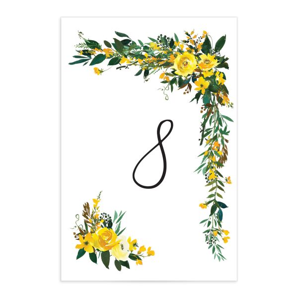 Cascading Altar wedding table numbers in yellow back