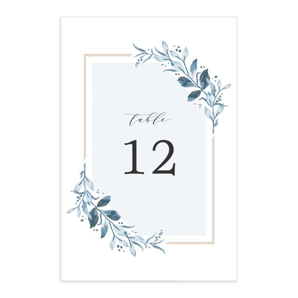 classic greenery table numbers in blue
