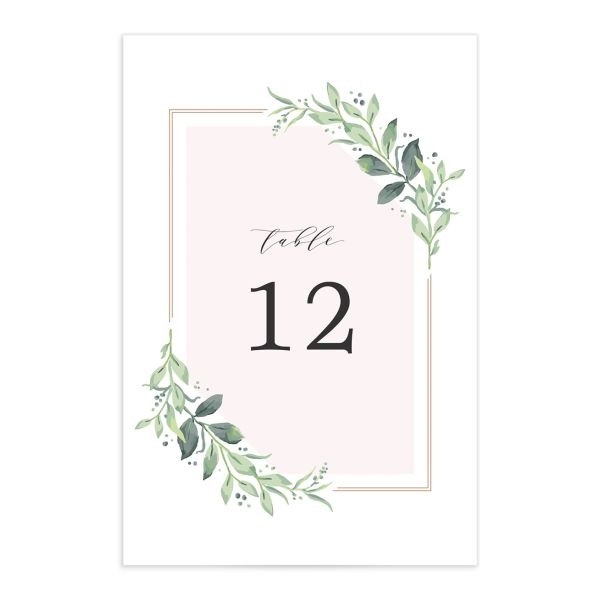 classic greenery table numbers in pink