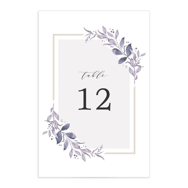 classic greenery table numbers in purple