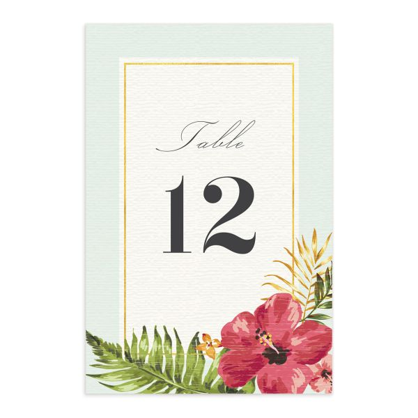 elegant paradise wedding table numbers in teal