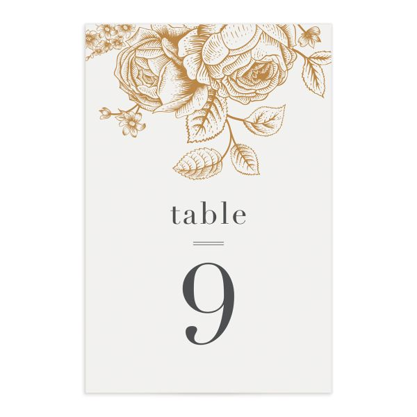 etched botanical table numbers
