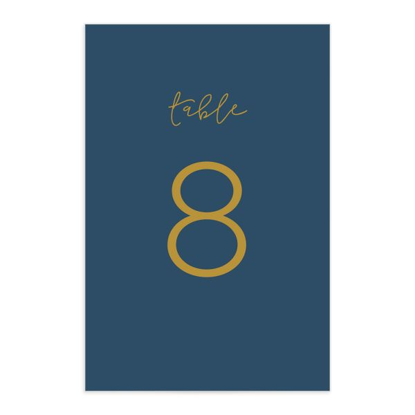 Gold Calligraphy table numbers in blue