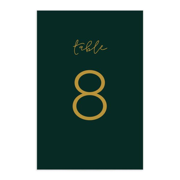 Gold Calligraphy table numbers in green