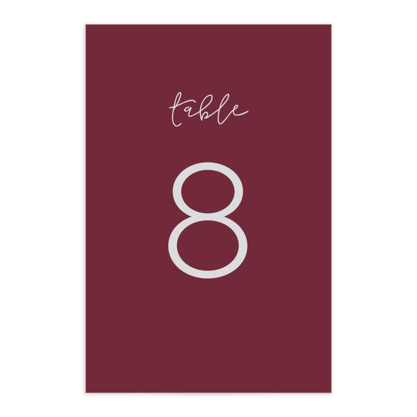 Gold Calligraphy table numbers in burgundy