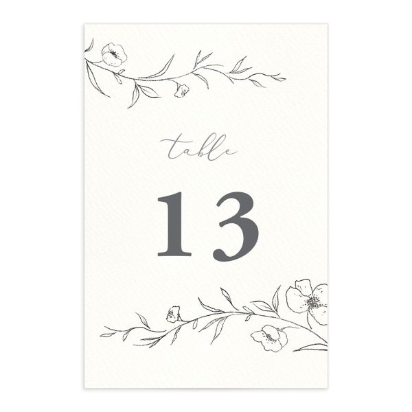 graceful botanical table numbers in grey