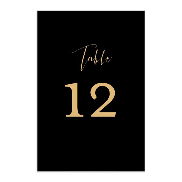 Marble and Gold wedding table numbers front black