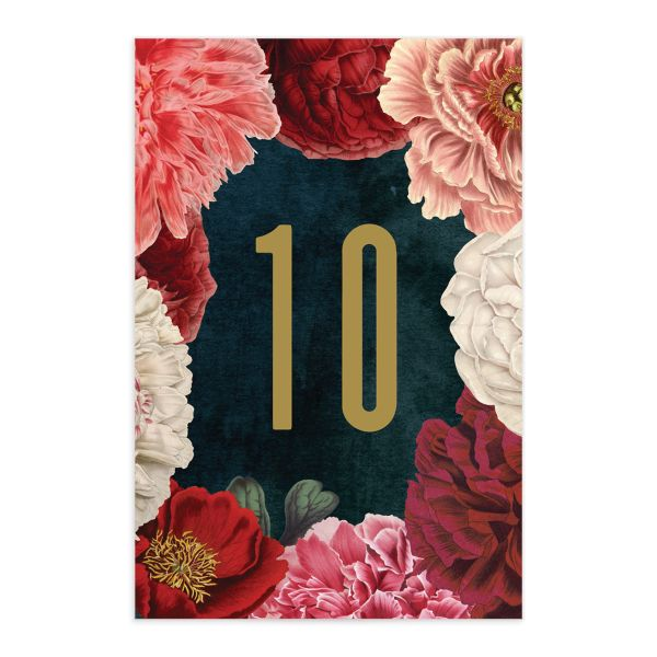midnight peony wedding table numbers