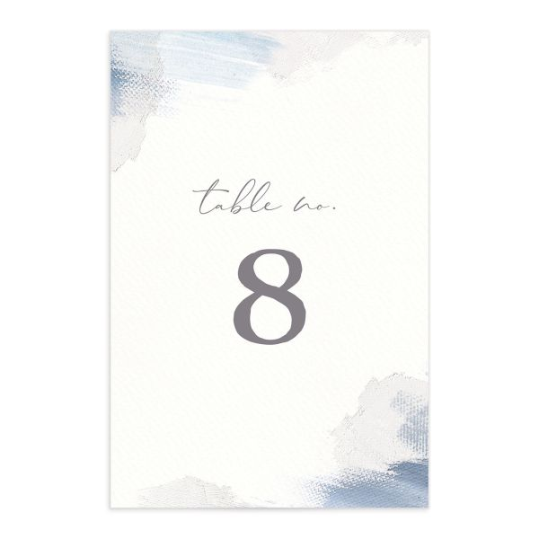 Minimal Brush table number blue front
