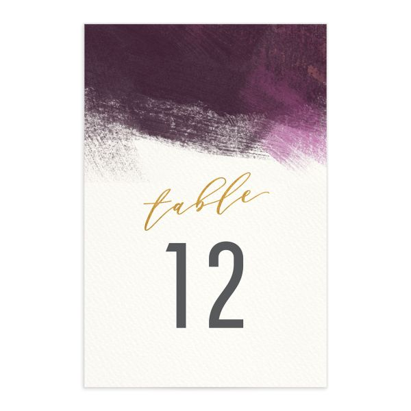 Modern Brushstroke table number front