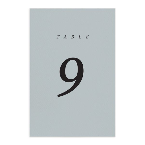 Natural Palette wedding table numbers in blue front