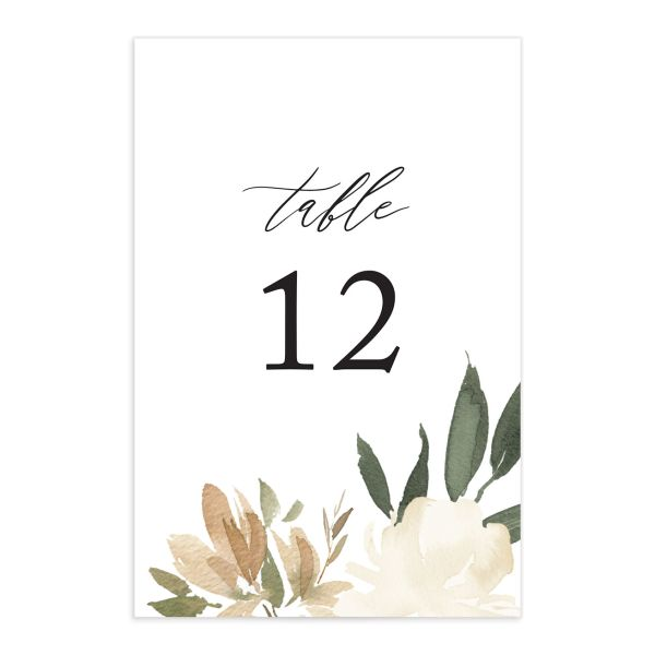 neutral greenery wedding table numbers in green