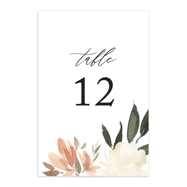 neutral greenery wedding table numbers in orange