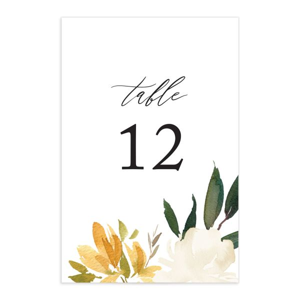 neutral greenery wedding table numbers in yellow