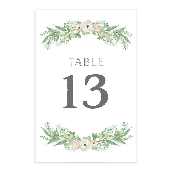 Romantic Garland table numbers front