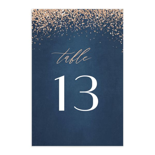 Sparkling Romance table number blue front
