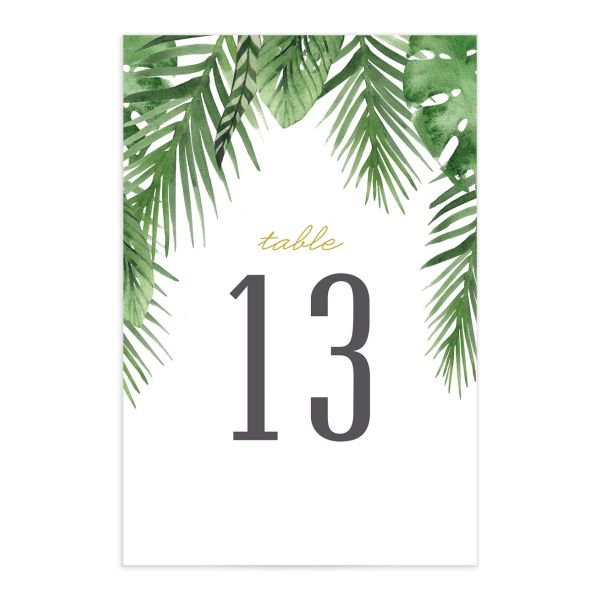 Tropical Leaves table number front