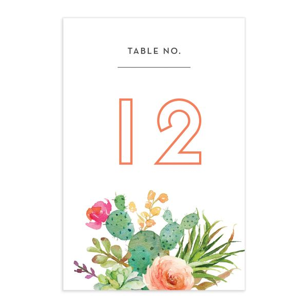 Watercolor Cactus table number front