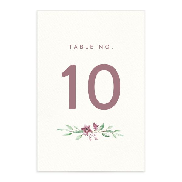 watercolor crest table numbers in pink