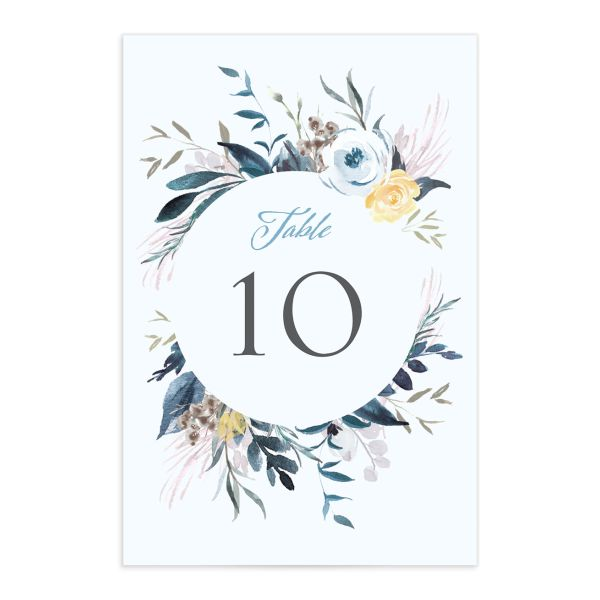 wild wreath table numbers in blue