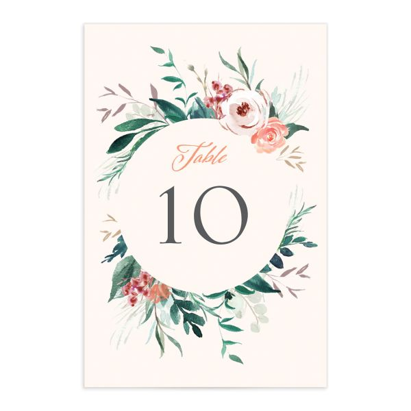 wild wreath table numbers in pink