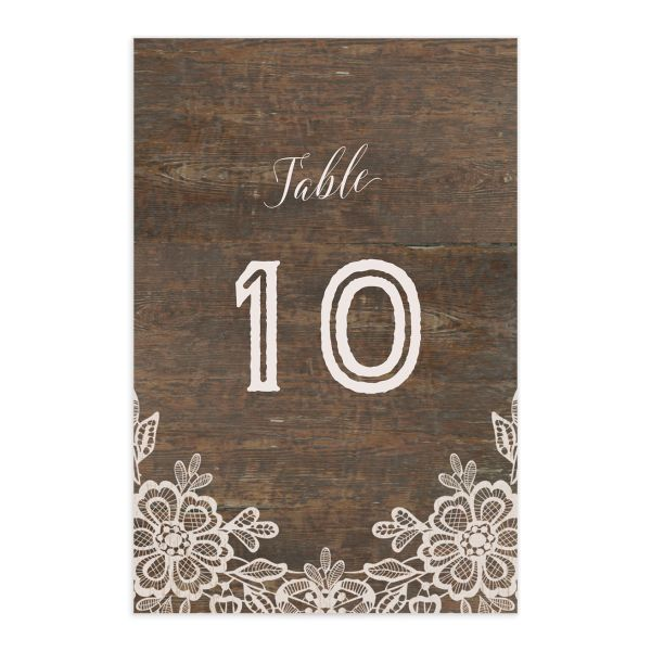 Woodgrain Lace table number front