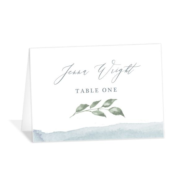 Dusted Calligraphy place card blue