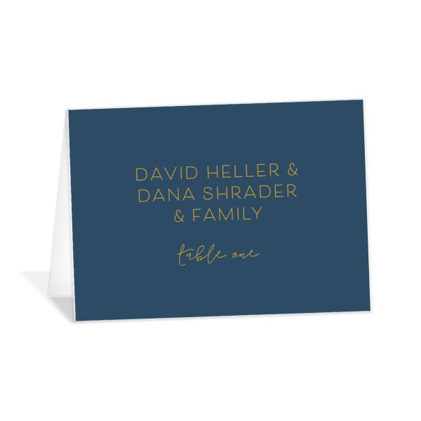 Gold Calligraphy wedding place cards & escort cards in blue