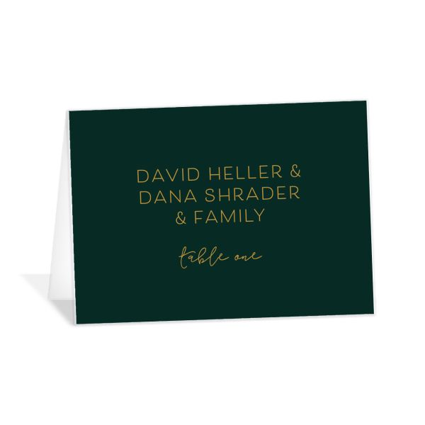 Gold Calligraphy wedding place cards & escort cards in green