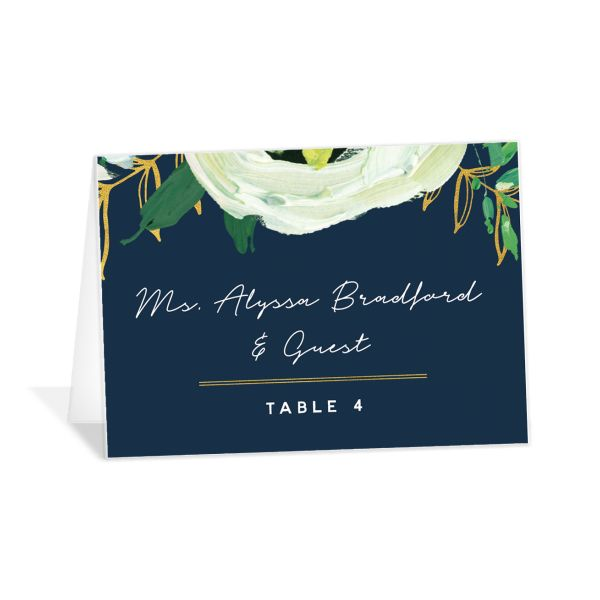 Painted Greenery place cards shown in navy