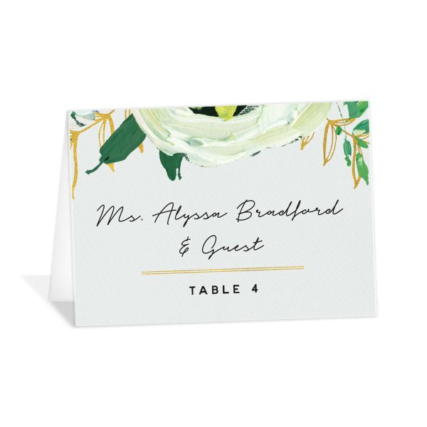 Painted Greenery place cards shown in white